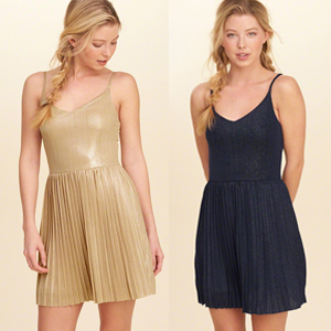 Shine Pleated Dress